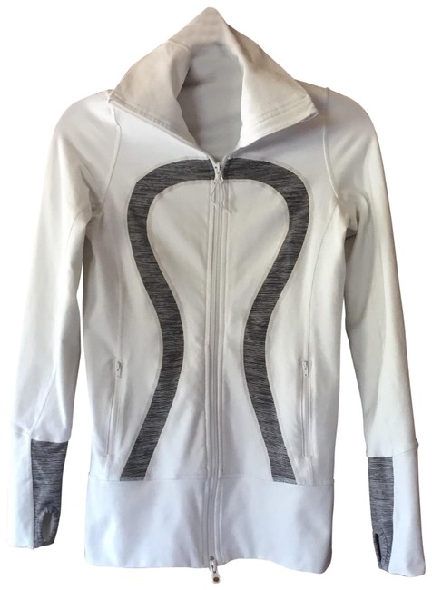 Item - White and Green Jacket Activewear Outerwear Size 4 (S)