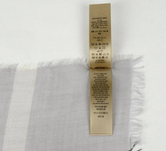 Burberry Burberry Pale Gray Wool Silk Checkered Scarf 39313231 Image 5