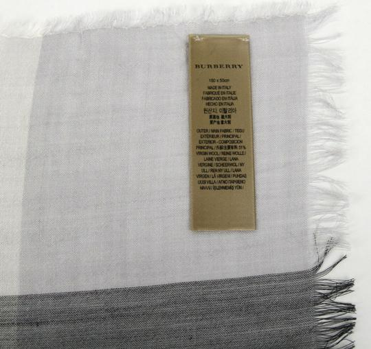 Burberry Burberry Pale Gray Wool Silk Checkered Scarf 39313231 Image 6