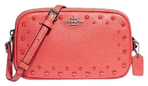 Coach Strap Stud Wallet On Chain Leather Travel Clutch Phone Tablet Purse Woc Cross Body Bag