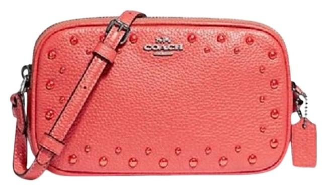 Item - Dinky Pouch Pink/Salmon/Silver Leather Cross Body Bag