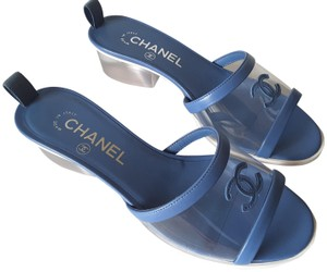 Chanel Heel Slides Transparent/Blue Mules