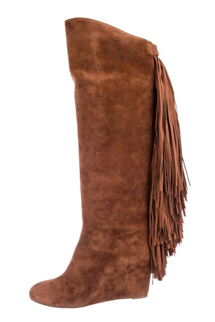 Item - Brown Suede Round-toed Knee-high Fringed Boots/Booties Size EU 39.5 (Approx. US 9.5) Narrow (Aa, N)