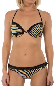 Just Cavalli New Women's Stripped Underwire Push-Up Two Piece Bikini Swimsuit - item med img