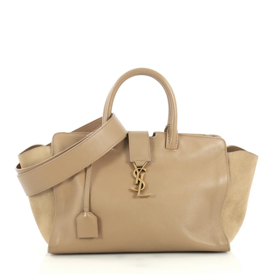 a04f4af08c6 Saint Laurent Monogram Cabas Downtown With Suede Small Neutral Leather  Satchel
