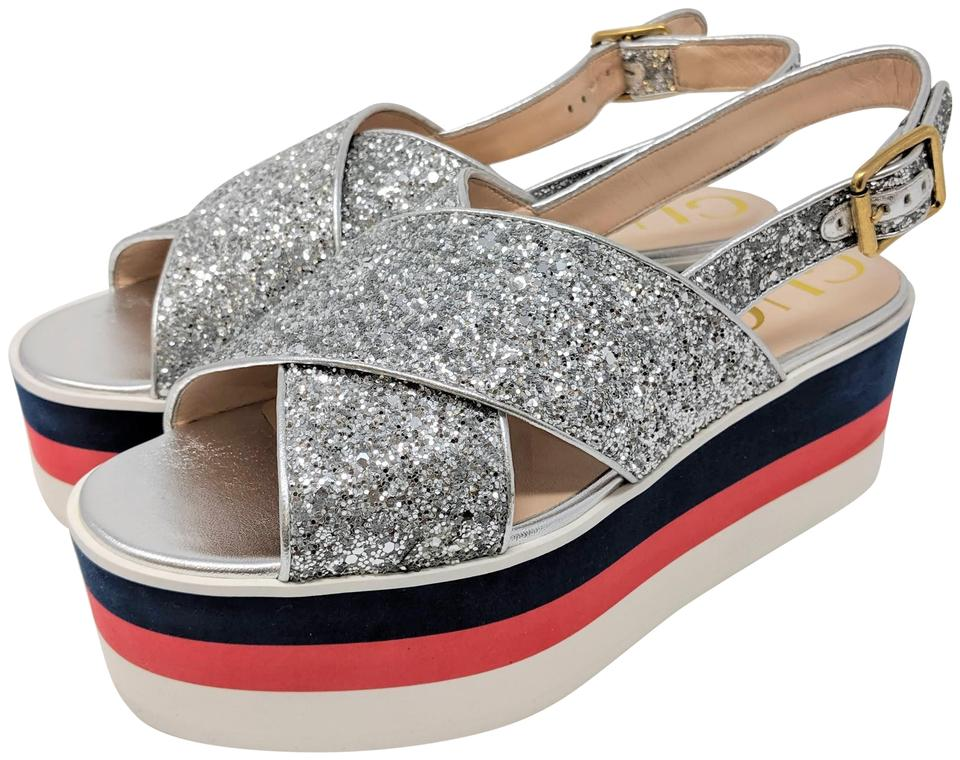 3fd77b104d Gucci Silver Glitter with Metallic Silver Leather Trim Crossover Sandal  Platforms Size EU 40 (Approx. US 10) Regular (M, B) 17% off retail