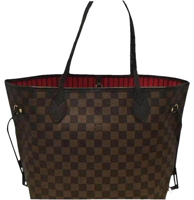 Item - Neverfull Box 2019 Mm with Tag Receipt & Multi ( Damier Ebene / Red ) Canvas Tote