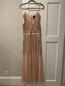 Adrianna Papell Silver and Pink/Nude Sequins Beads Elegant Beaded Formal Bridesmaid/Mob Dress Size 6 (S)