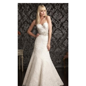 Allure Bridals Ivory Lace 9004 By Feminine Wedding Dress Size 8 (M)