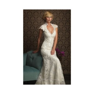 Allure Bridals Ivory Lace 8764 By Feminine Wedding Dress Size 10 (M)