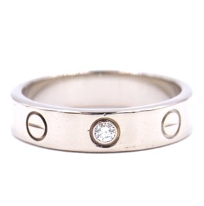 Cartier Rare 1p Diamond 18k Love Size 49 3.5mm wide Ring size 4.75