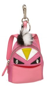 Fendi 492014 Pink Nylon and Leather Monster Backpack Charm