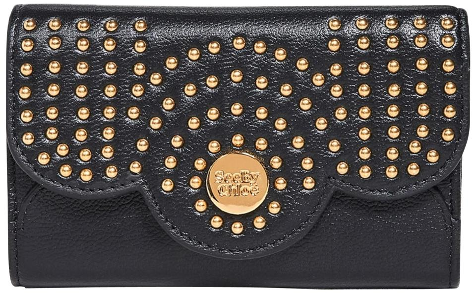 5eeaf6bf See by Chloé Black Leather Polina Shorts Studded Wallet 16% off retail