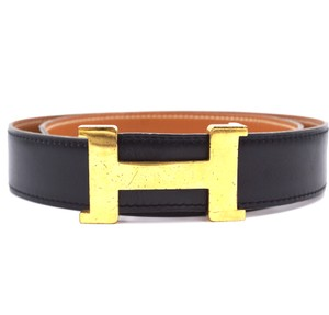 Hermès RARE 30Mm classic Gold H Reversible leather Belt Size 85
