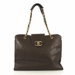 Chanel Vintage Lambskin Tote Overnight Brown Travel Bag
