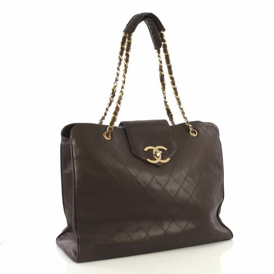 Chanel Vintage Lambskin Tote Overnight Brown Travel Bag Image 1