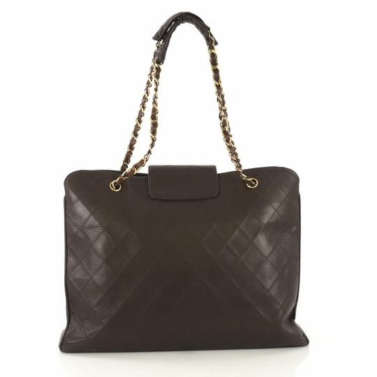Chanel Vintage Lambskin Tote Overnight Brown Travel Bag Image 2