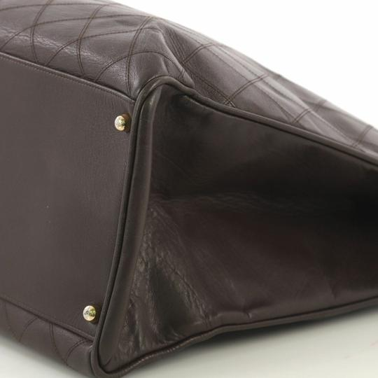 Chanel Vintage Lambskin Tote Overnight Brown Travel Bag Image 4