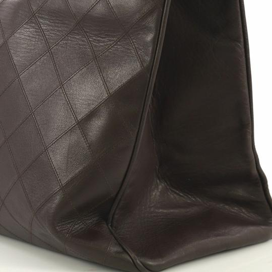 Chanel Vintage Lambskin Tote Overnight Brown Travel Bag Image 5