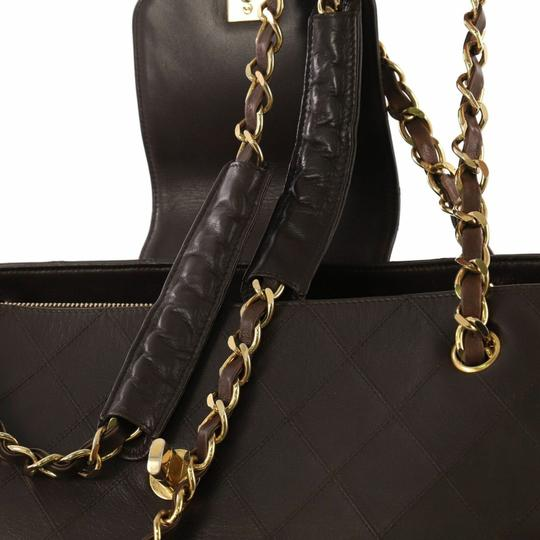 Chanel Vintage Lambskin Tote Overnight Brown Travel Bag Image 6