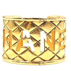 Chanel XL extra wide CC logo cutout gold hardware cuff bracelet