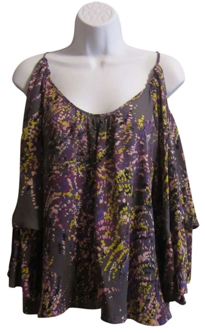Parker Silk Cold-shoulder Top Purple
