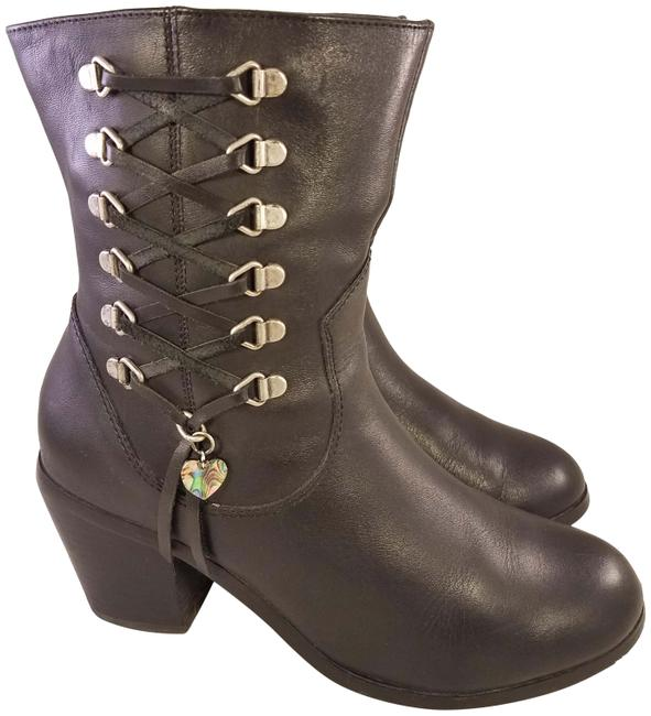 Item - Black Woman Motorcycle Riding Leather 7/38 Boots/Booties Size US 7 Regular (M, B)