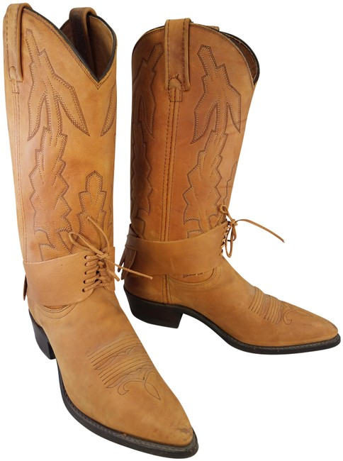 Item - Brown Woman Western Cowboy Tan with Removable Harness Boots/Booties Size US 7.5 Regular (M, B)