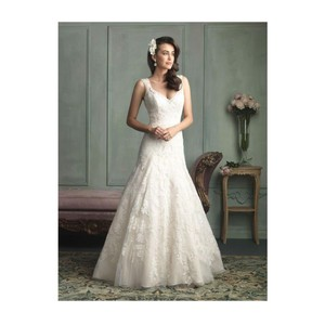 Allure Bridals Ivory Lace 9125 By Feminine Wedding Dress Size 12 (L)