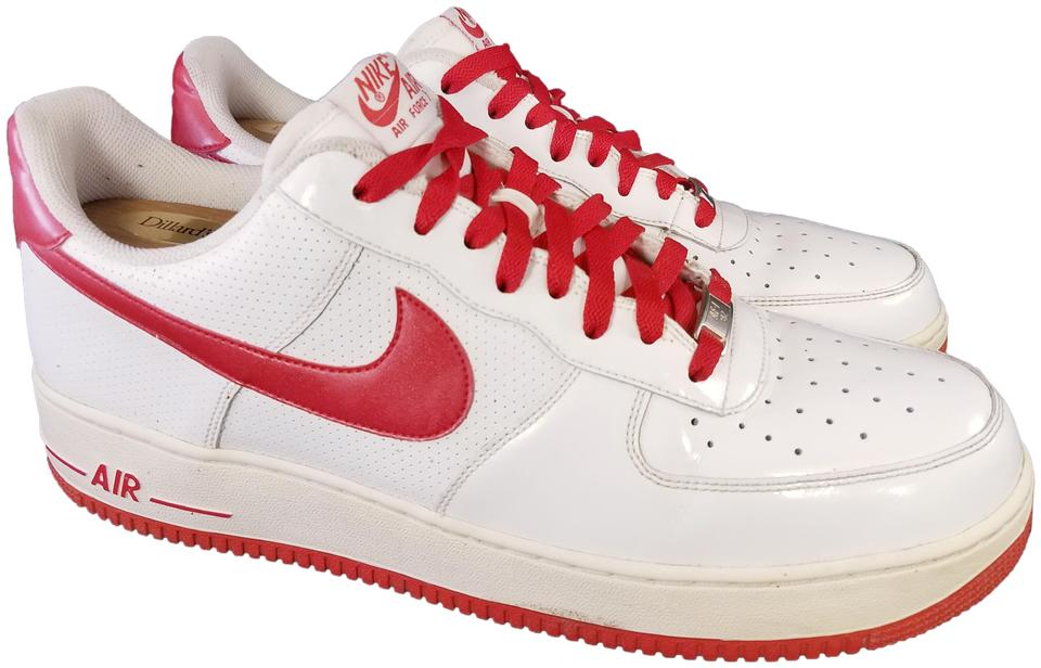 Nike White and Red 315122 126 Af1 Air Force 1 Patent Leather Sneakers Size US 13 Regular (M, B)