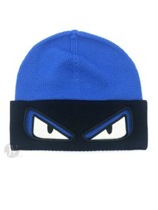 Fendi BRAND NEW MEN'S FENDI HAT KNIT BUGS WOOL REVERSIBLE BLUE/BLACK BEANIE