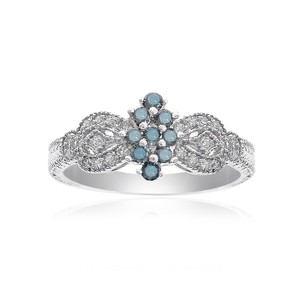 Avital & Co Jewelry 0.30 Carat Blue and White Diamond Women Cocktail Cluster Ring