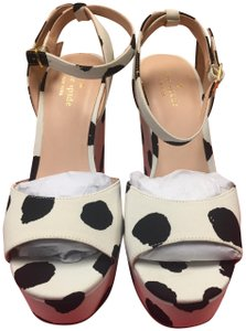 Kate Spade Dellie Platform Black White Polka Dot Wedges