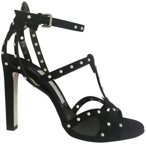 Jimmy Choo Suede Strappy Black/White Sandals