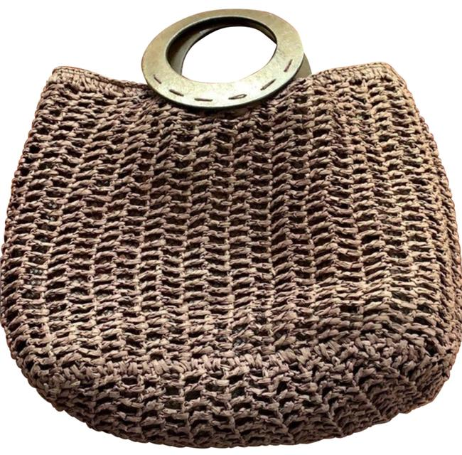 Item - Woven Eggplant with Wood Handles Tote Burgundy Straw Beach Bag