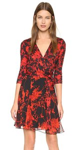Diane von Furstenberg short dress black, red on Tradesy