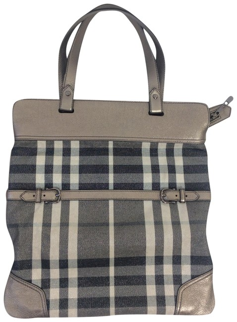 Item - Nova Check Pewter Canvas Leather Tote