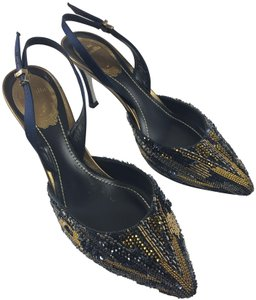 Rene Caovilla Beaded Slingback Stiletto Pointed Toe Evening Blue/Gold Pumps