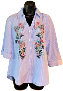 A. Byer Buttoned Striped Flowered Polyester Button Down Shirt Blue & White