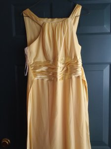David's Bridal Canary Yellow Chiffon/Silk F12732 Formal Bridesmaid/Mob Dress Size 10 (M)