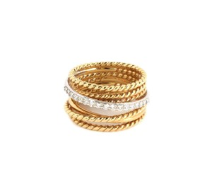 David Yurman Diamond 18k Two Tone Gold 7 Row Wire Stack Band Ring