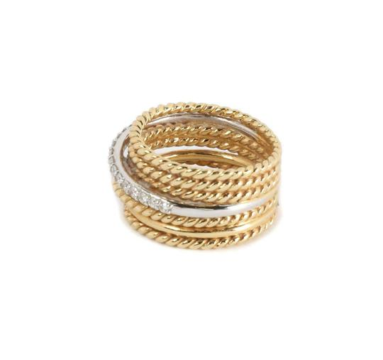 David Yurman Diamond 18k Two Tone Gold 7 Row Wire Stack Band Ring Image 2
