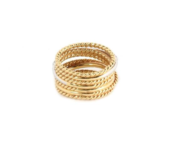 David Yurman Diamond 18k Two Tone Gold 7 Row Wire Stack Band Ring Image 3