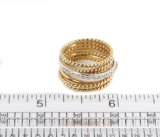 David Yurman Diamond 18k Two Tone Gold 7 Row Wire Stack Band Ring Image 4