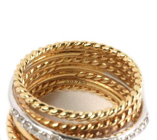 David Yurman Diamond 18k Two Tone Gold 7 Row Wire Stack Band Ring Image 5