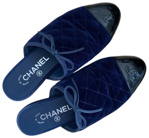 Chanel navy and black Mules
