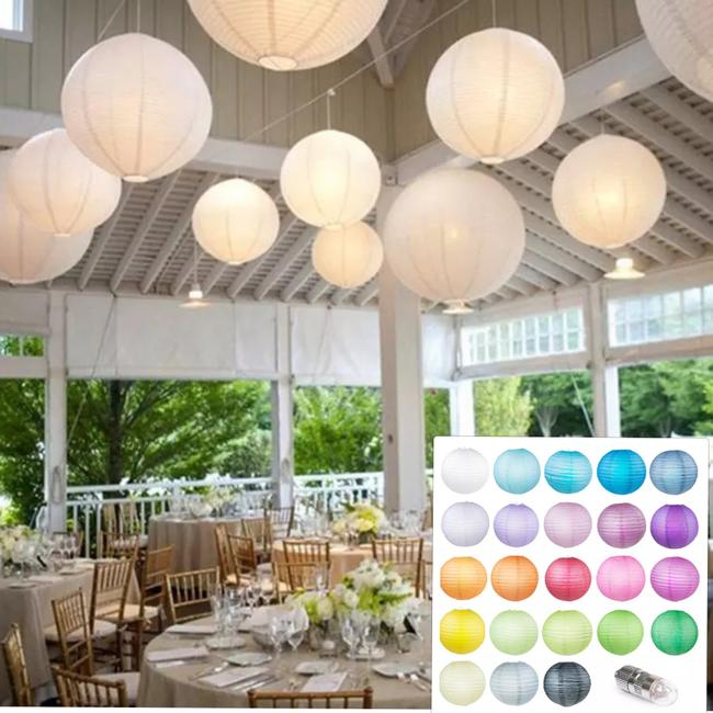 Item - 10 Pack 12 Inch 23 Colors Paper Lantern with 2 Led Lights Each Lantern Reception Decoration