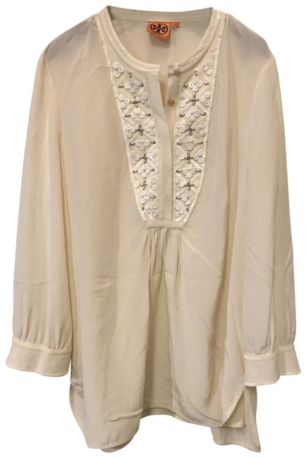 Item - Off White Beads Blouse Size 12 (L)
