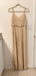 Adrianna Papell Champagne/ Gold Beaded Gown Formal Bridesmaid/Mob Dress Size 6 (S)