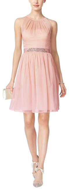 Item - Pink /Silver Women`s Belted Chiffon Clothing Blush Mid-length Cocktail Dress Size 12 (L)